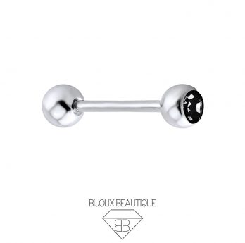 Tongue / Nipple Gem Barbell – Black