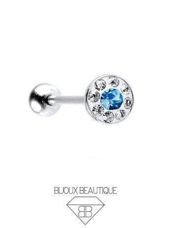 Gem Dome Tongue Barbell – Blue