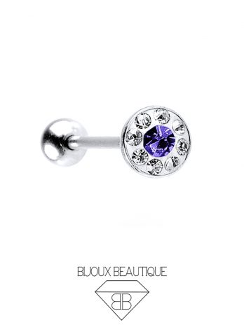Gem Dome Tongue Barbell – Purple