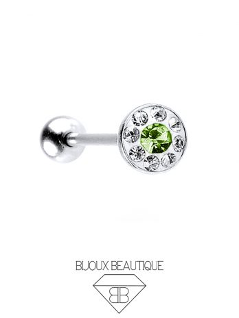 Gem Dome Tongue Barbell – Green
