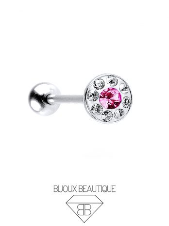 Gem Dome Tongue Barbell – Pink