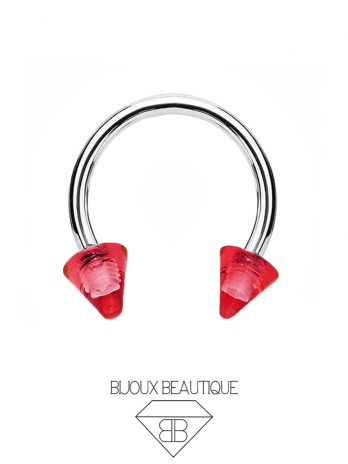 Clear Spiked Horseshoe – Red