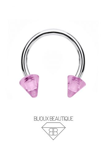 Clear Spike Horseshoe – Pink