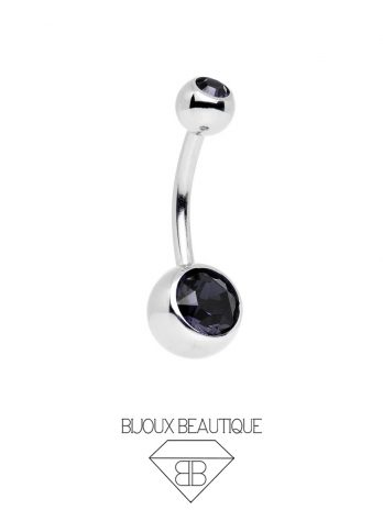 Crystal Gem Navel Belly Button Barbell – Black