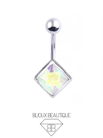 Square Gem Navel Belly Button Barbell – Aurora