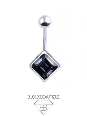 Square Gem Navel Belly Button Barbell – Black