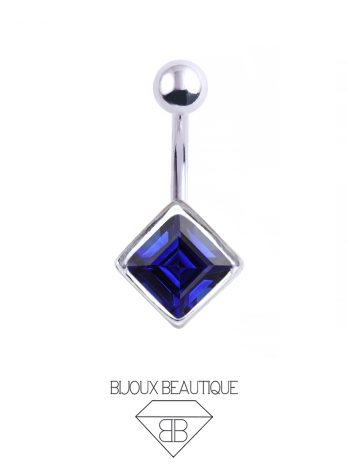 Square Gem Navel Belly Button Barbell – Blue