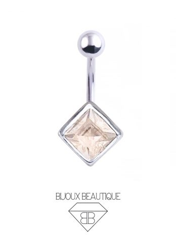 Square Gem Navel Belly Button Barbell – Champagne