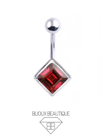 Square Gem Navel Belly Button Barbell – Red