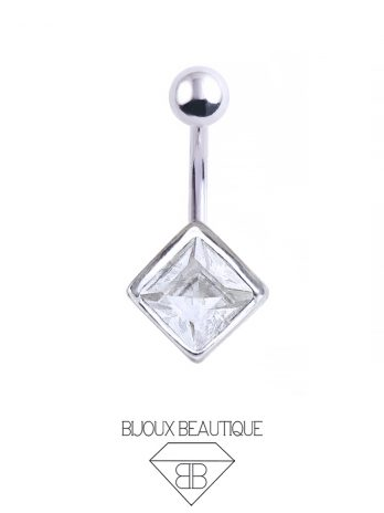 Square Gem Navel Belly Button Barbell – White