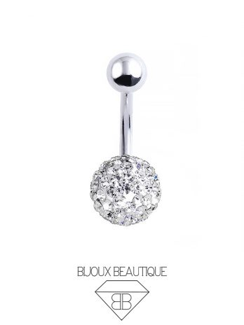 Cluster Ball Navel Belly Button Barbell – White