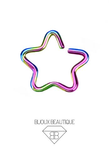 Star Ear Hoop Ring – Rainbow