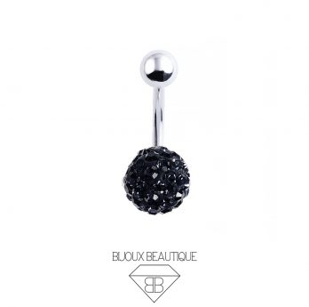 Cluster Ball Navel Belly Button Barbell – Black