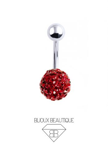 Cluster Ball Navel Belly Button Barbell – Red