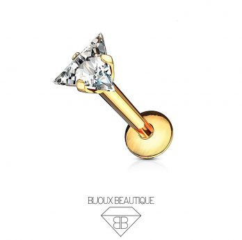 Ear / Lip Crystal Triangle Prong Stud – Gold