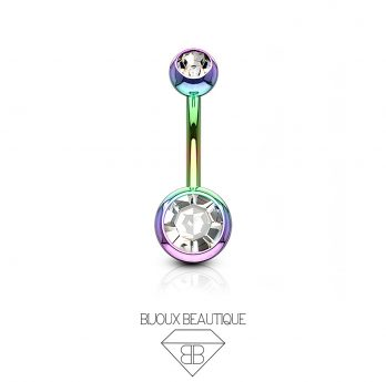 Navel Belly Button Barbell – Rainbow, White Gem