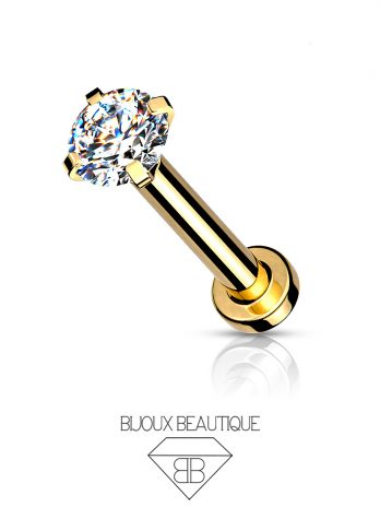 Ear / Lip Crystal Prong Stud – White, Gold