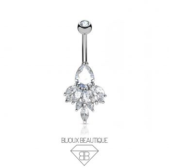 Navel Cluster Droplet Belly Button Barbell – Silver