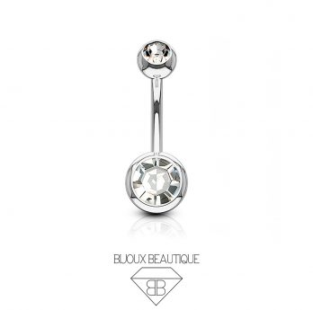 Navel Belly Button Barbell – Silver, White Gem