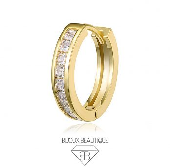 Hoop Hinged Clicker Ring White Gems – Gold